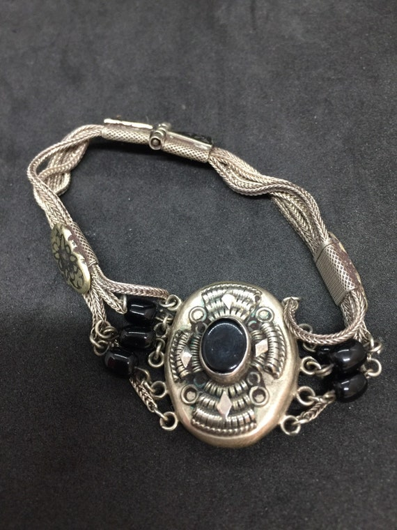 Victorian Silver and Jet armband
