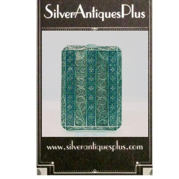 Unique Silver, Gold & Enamel Filigree Card Case