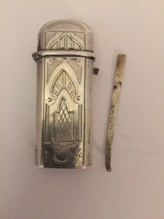 Antique silver tinder box Biedermeier  Engraved on both sides