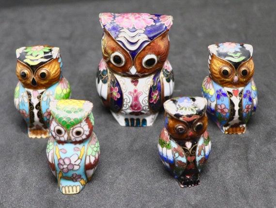 A Family of Cloisonné Enamel Owls