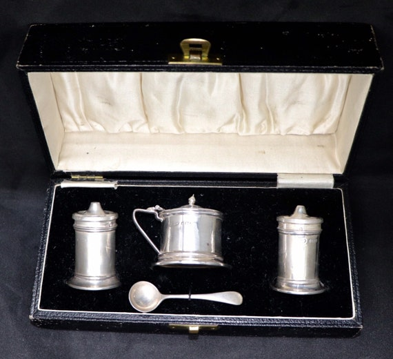 Sterling Silver Salt Pepper and Mustard set