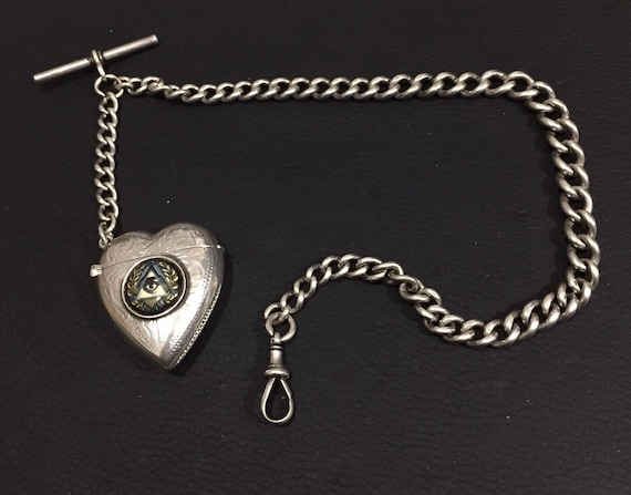 1900 Sterling Silver watch chain with silver heart match box with Enamel Freemason Emblem