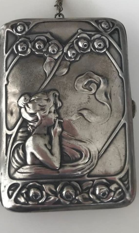 Silver Art nouveau cigarette or card case on antique chain