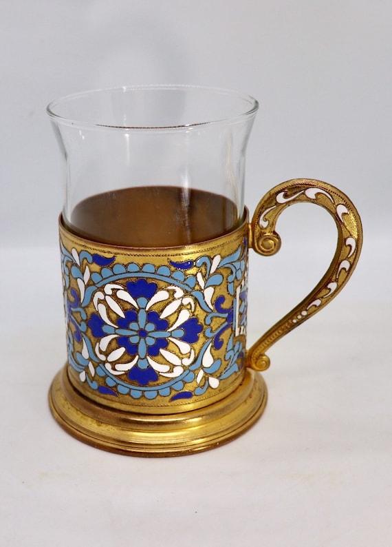 Russian Cloisonné tea cup holder
