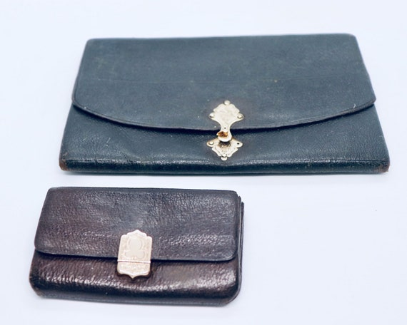 Set of 1st Class 1800s Leather Wallet and Coin Purse with 585 Gold clip