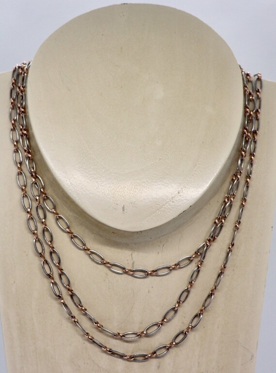 Rare Russian Niello Silver Long Chain