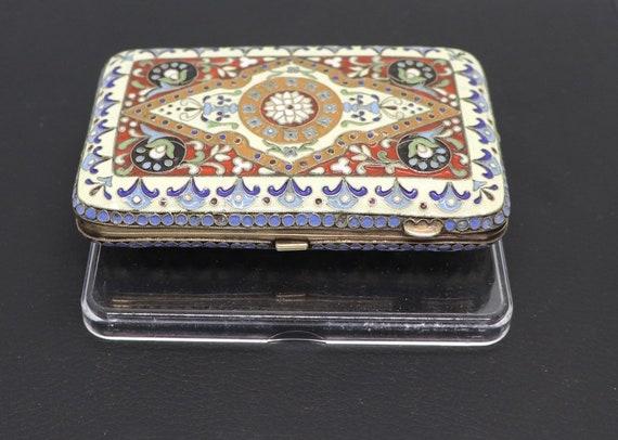 Rare Russian circa 1900 Silver Cloisonné Cigarette Case