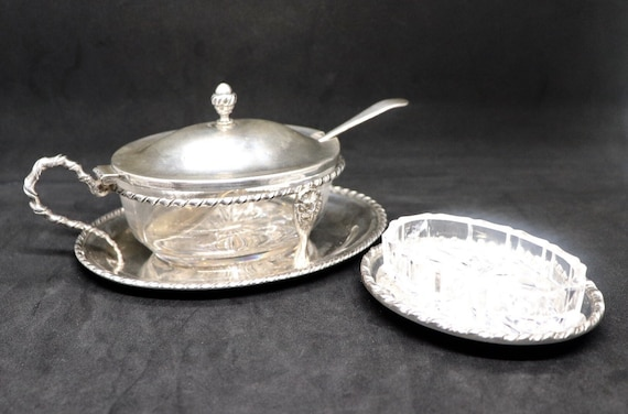 Marco Style Silver and Crystal Glass Parmesan and Salt bowl