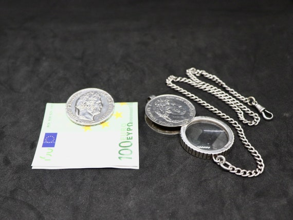 1832 Silver Louise Philippe coin magnifying glass and money clip