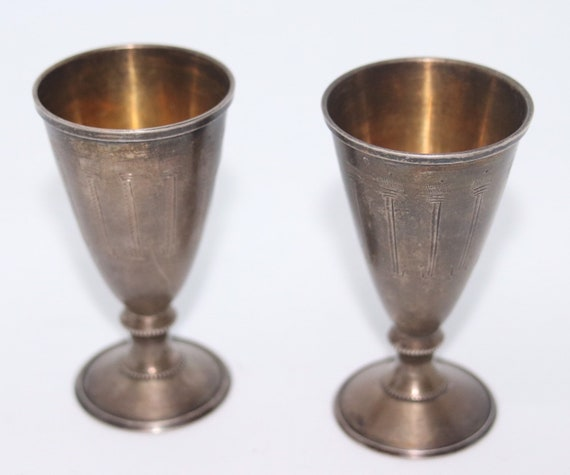 Russian 875 Silver gilded Vodka Cups