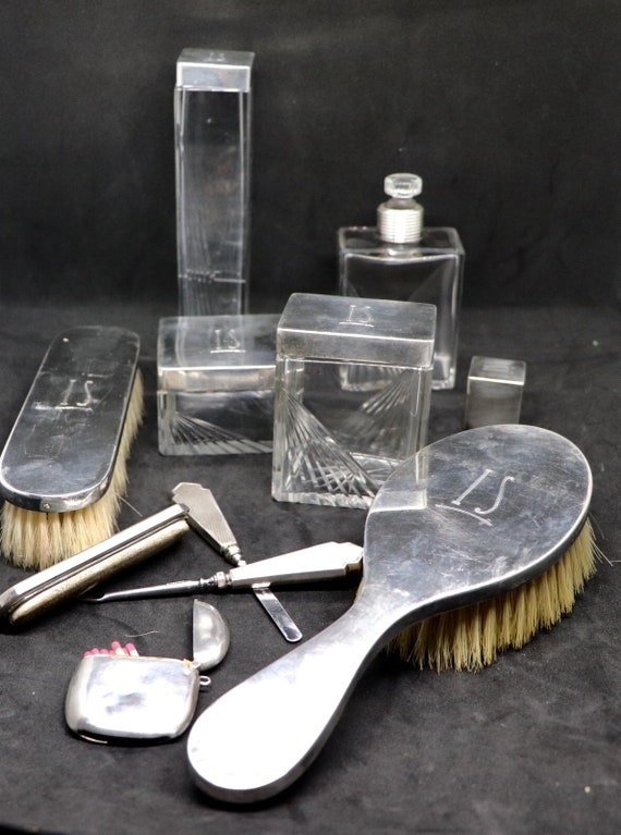 Rare Art Nouveau Silver Crystal and leather travel set