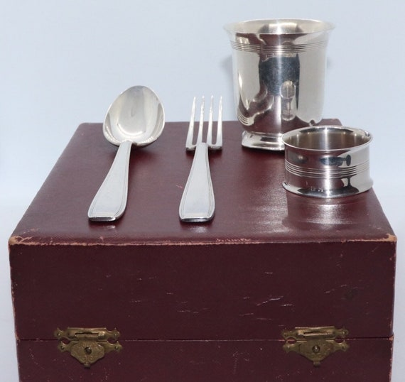 Ercuis Silver Plated fork, spoon, cup and napkin ring in original box