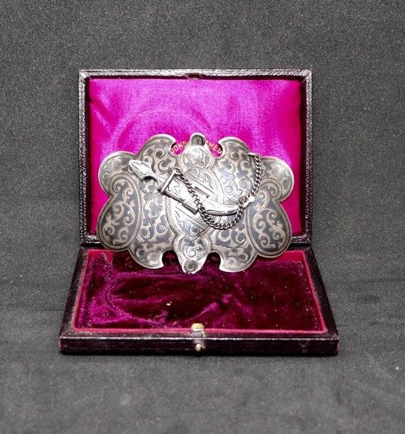 Russian Antique Silver Niello Wedding Buckle