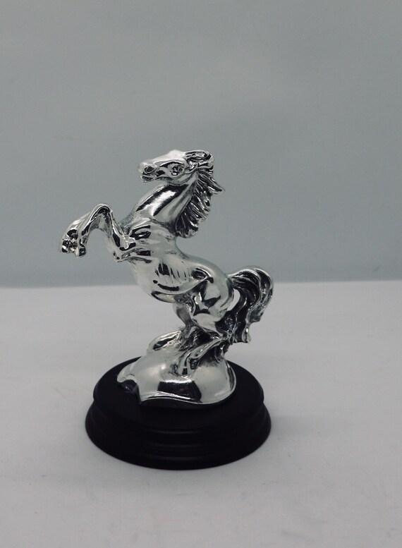 Silver stallion statue