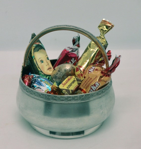 Antique Russian Silver and Gold Sweets basket 1950s