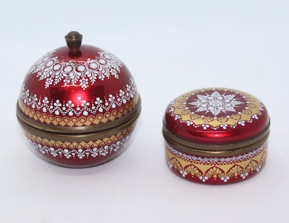 Red enamel Austrian  Steinbock trinket boxes