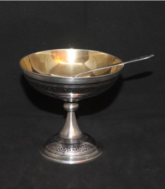 Antique Russian Gold Plated Silver Niello Bowl