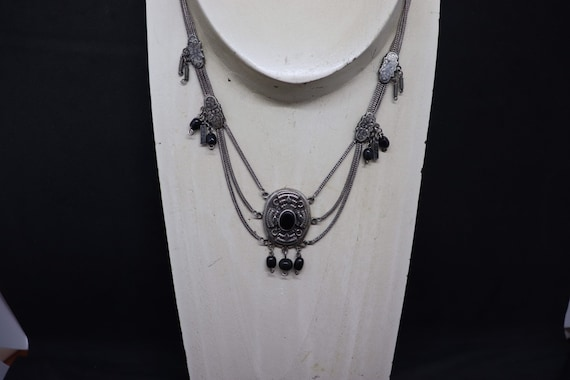 Victorian Silver and jet necklace