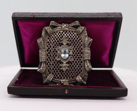 Vintage Silver Pendant with Blue Topas