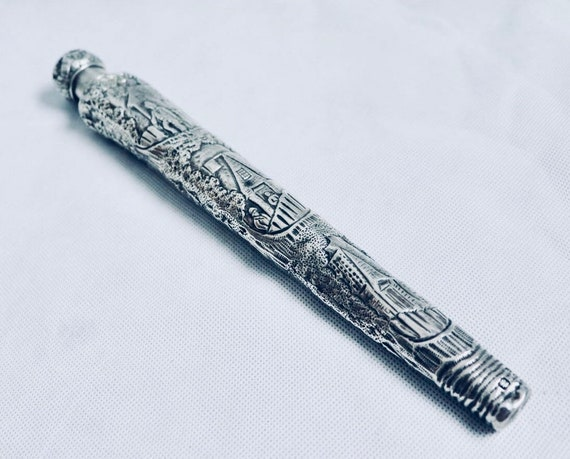 Large 1890 Victorian Teniers Style Silver Perfume Flask