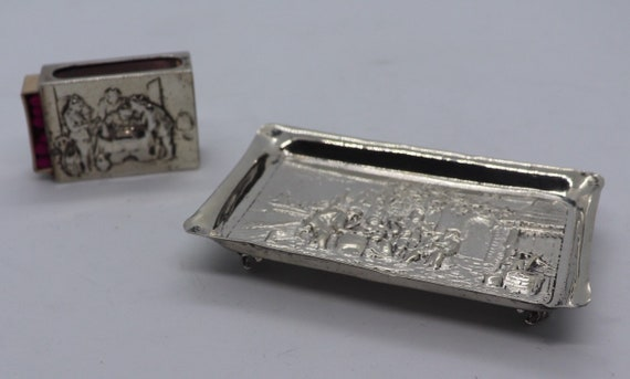 Antique handmade Dutch silver ashtray and a handmade silver matchbox holder.