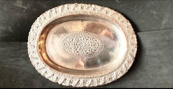 Vintage Indian Silver Platter, hammered