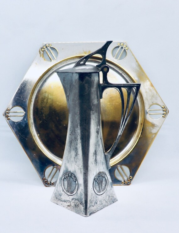 Art Nouveau Carafe and Plate 1900silver plated pewter