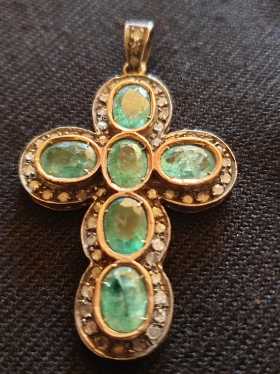 Antique Gold Cross with diamond borderand six beautiful green emeralds