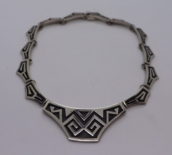 Vintage Taxco Mexico Sterling Silver Maya necklace