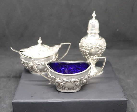 Victorian 1904 Sterling Silver Condiment Set, Salt Pepper and Mustard