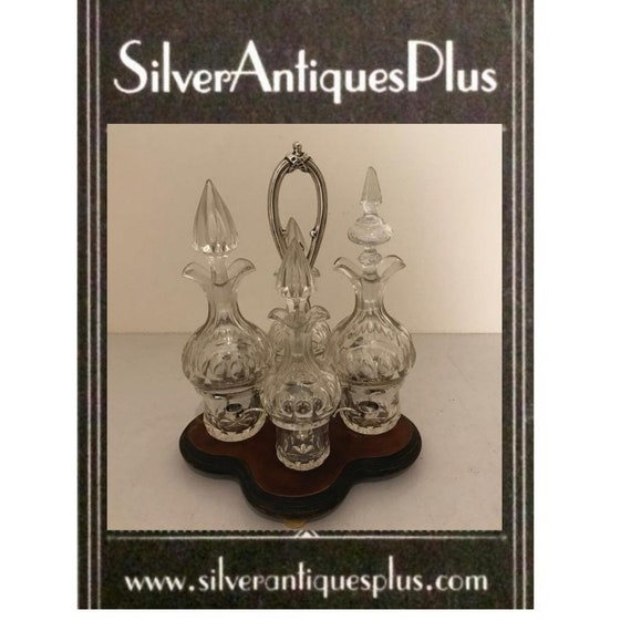 1873 Silver crystal spices set (9) - Biedermeier - Bone, Crystal, Mahogany, Silver