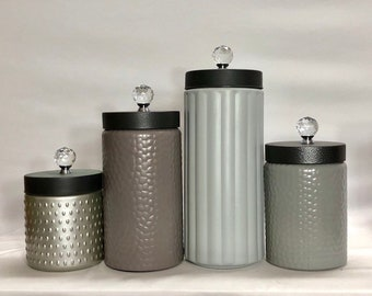 Modern Mixed Texture Kitchen Canisters Lime Green Grey