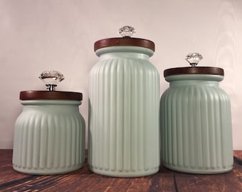 Kitchen Canister Set / Textured Glass Canisters/ Vintage Heather Blue /  Textures And Patterns