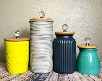 Modern Mixed Texture Kitchen Canisters / Lime Green Grey Teal Navy Blue  Canister Set / Set Of 4 / Bright Colorful Kitchen Storage Jars Wood