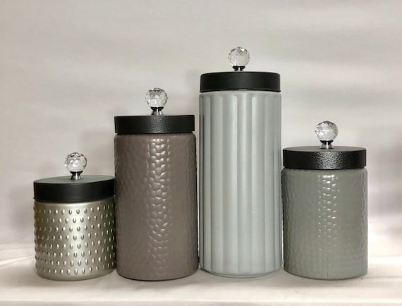 Modern Kitchen canister set / Rustic Farmhouse kitchen canisters / textured  glass canisters / grays neutrals beige mink brown