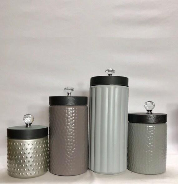 Modern Kitchen canister set / Rustic Farmhouse kitchen canisters / textured  glass canisters / grays neutrals beige mink brown