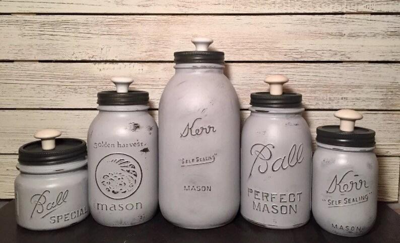"Kerr 6/"" Mason Jar Glass handpainted tan white distressed Boho look farmhouse"