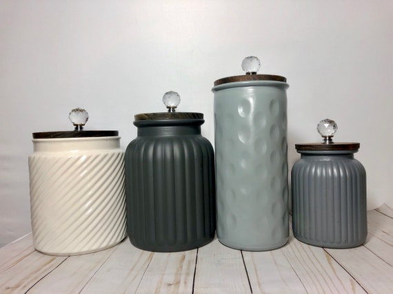 modern Kitchen Canisters / textured ceramic canister set in ivory gray  shades of gray patterns texture
