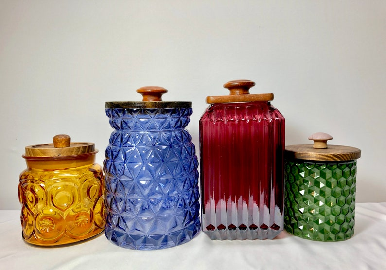 Boho coastal colorful kitchen canisters mixed greeb purple blue amber glass  tinted canister set wood lids