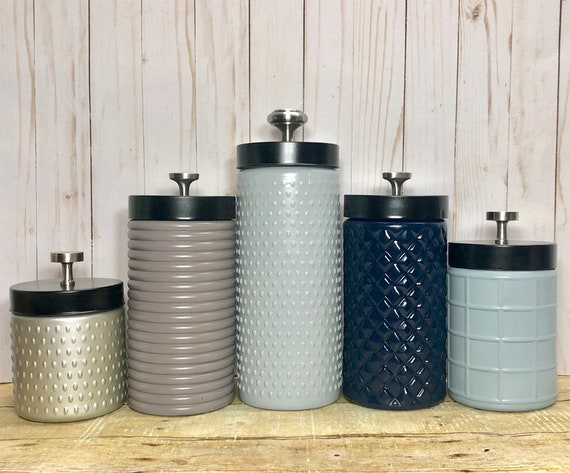 Modern Kitchen canister set / Rustic Farmhouse kitchen canisters / textured  glass canisters / grays neutrals navy blue beige