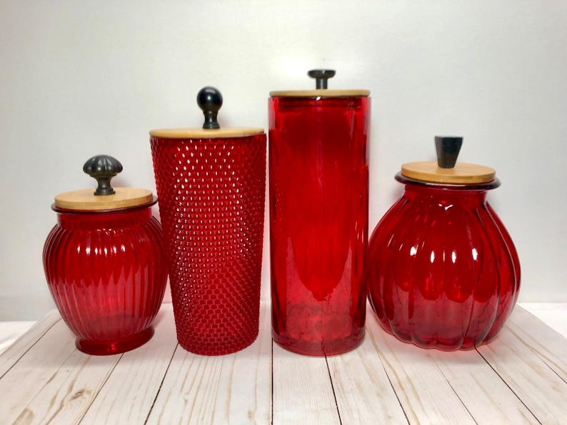 Red Kitchen canister set / semi-transparent tinted glass / mixed textures  /large capacity storage