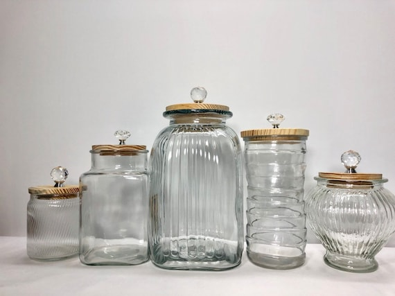 Kitchen canister set / clear glass containers / mixed textures and  patterns/ mixed shapes / 5 kitchen canisters