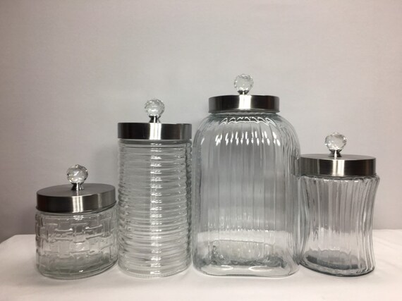 Clear Textured Glass Kitchen Canister Set Large Calacity Etsy