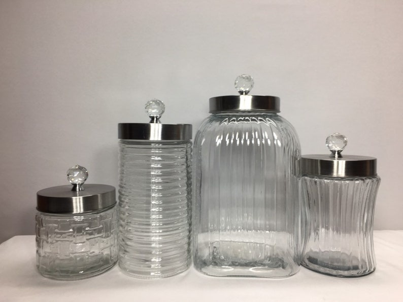 Superbe Clear Textured Glass Kitchen Canister Set / Large Calacity Food Storage  Canisters /mixed Textures / Silver Airtight Lids Knob