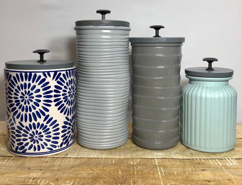 Scandinavian Bohemian modern Kitchen Canisters / textured ceramic canister  set in white shades of gray and blue patterns texture