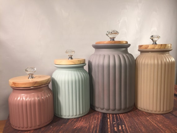 Modern Kitchen canister set / Rustic Farmhouse kitchen canisters / textured  glass canisters / matte finish / gray mauve beige blue