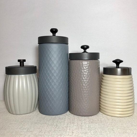 Modern Kitchen canister set / Rustic Farmhouse kitchen canisters / textured  glass canisters / grays neutrals beige mink airtight storage