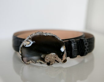 Black Agate - Small - WITH Alligator embossed leather belt strap included - #263 -