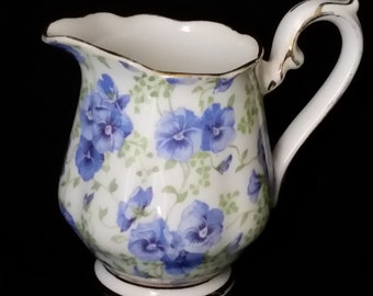 1960 - Royal Albert Creamer With Blue Flowers & Gold Trim - Country Kitchen - Tea Party - Fine Bone China - Coffee or Tea