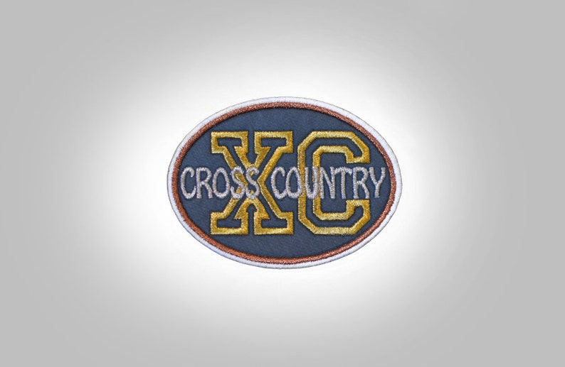 Cross Country Oval Embroidered Patch